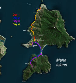 Map of Route on Maria Island
